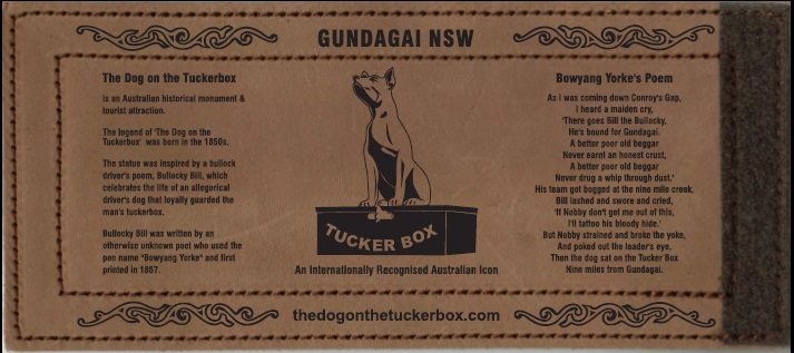 The Dog on the Tuckerbox Leather Stubby Holder - Wrap